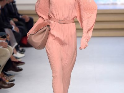 Super Trend! Puffed sleeves plisse silk crepe dress by Jil Sander