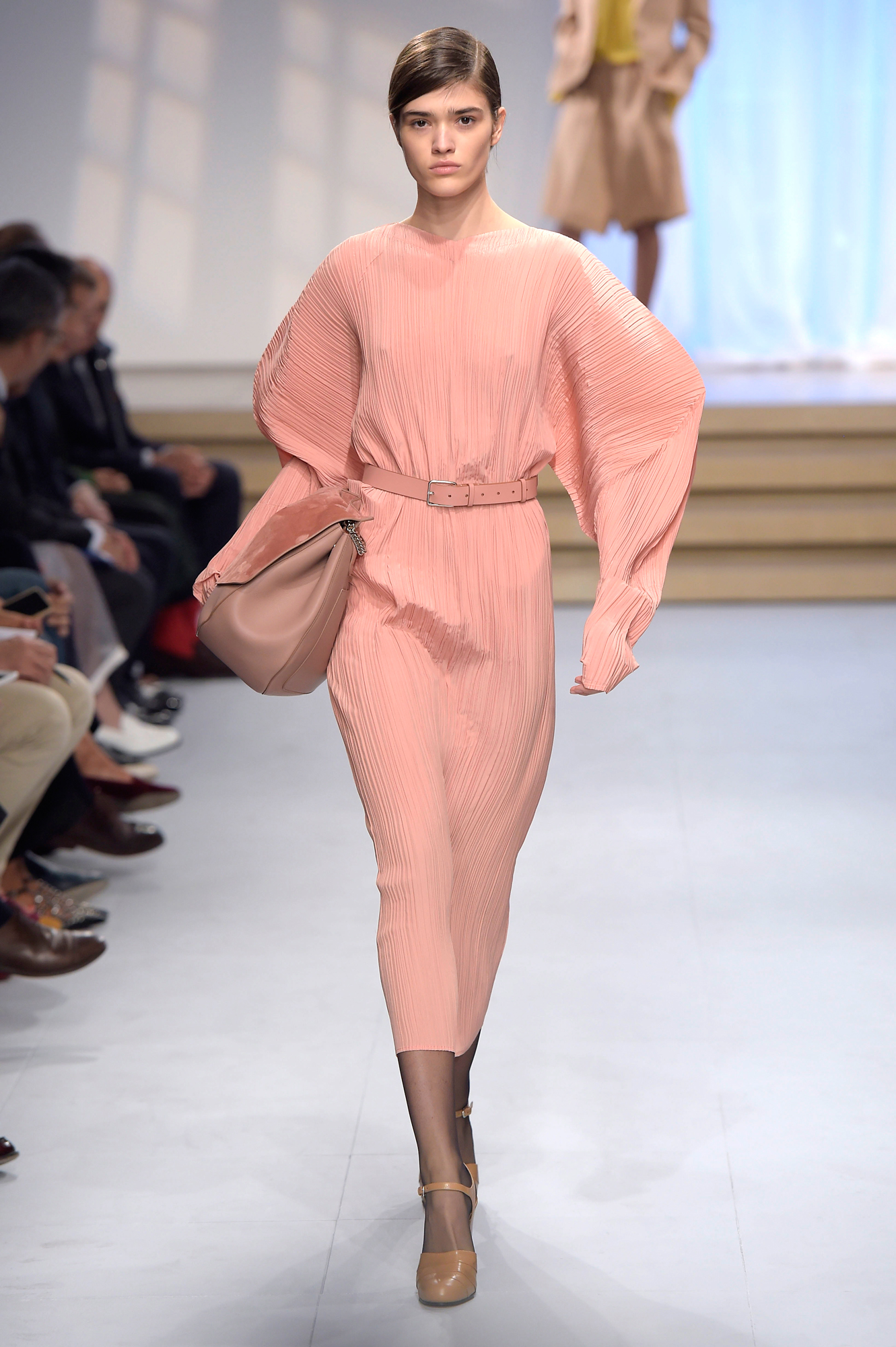 Super Trend! Puffed sleeves plisse silk crepe dress by Jil Sander